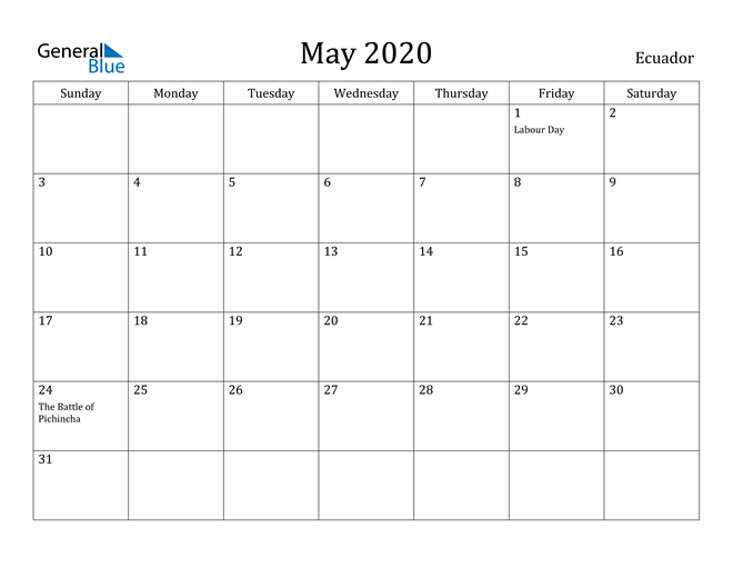Image of May 2020 Ecuador Calendar with Holidays Calendar