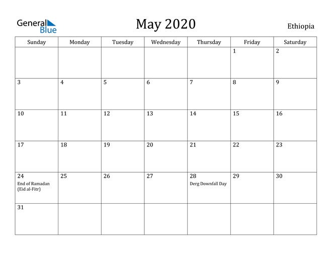 Image of May 2020 Ethiopia Calendar with Holidays Calendar