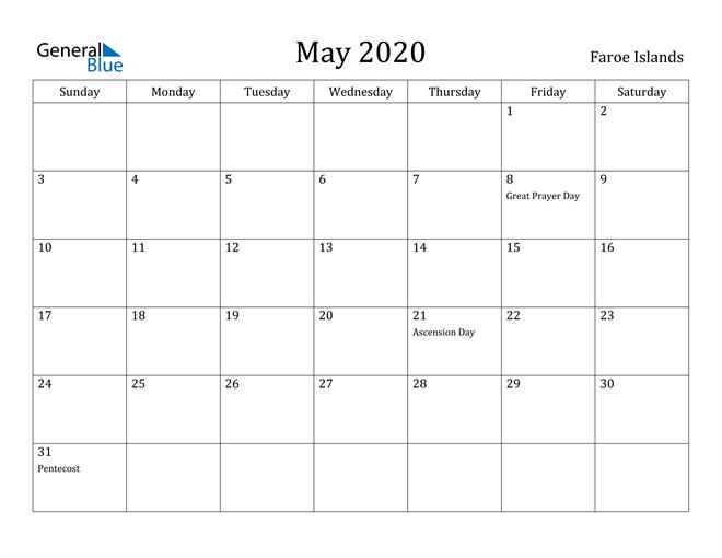 Image of May 2020 Faroe Islands Calendar with Holidays Calendar