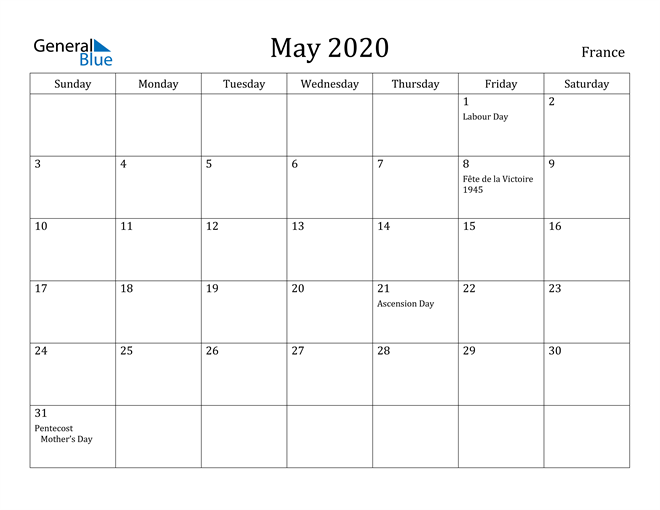 Image of May 2020 France Calendar with Holidays Calendar