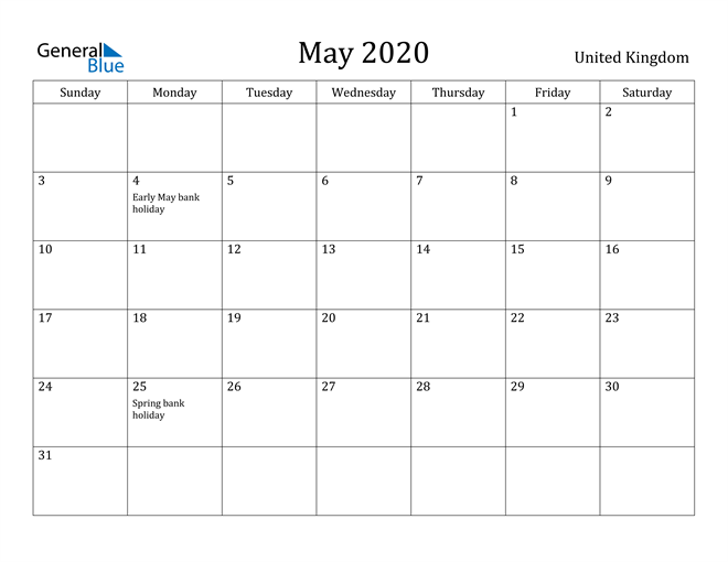 Image of May 2020 United Kingdom Calendar with Holidays Calendar