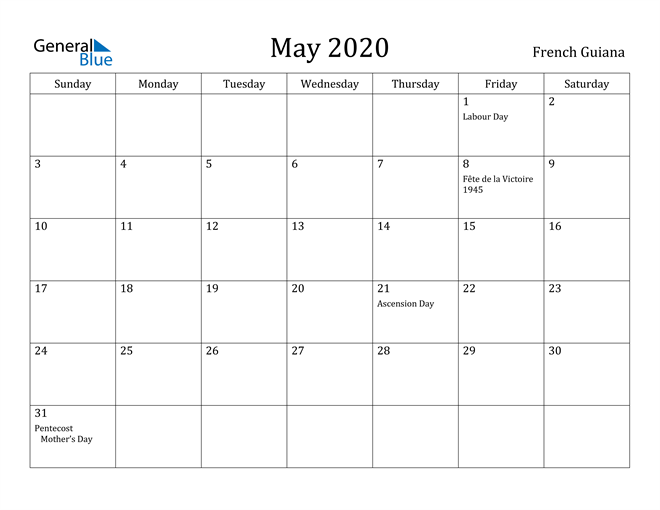 Image of May 2020 French Guiana Calendar with Holidays Calendar