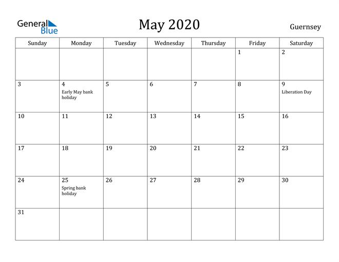 Image of May 2020 Guernsey Calendar with Holidays Calendar