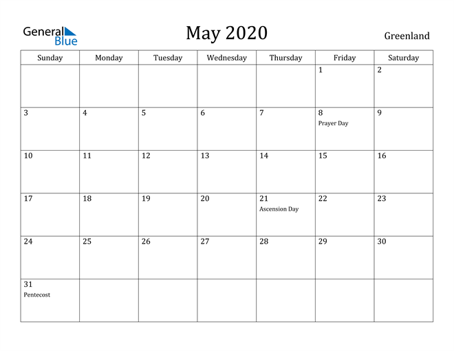 Image of May 2020 Greenland Calendar with Holidays Calendar