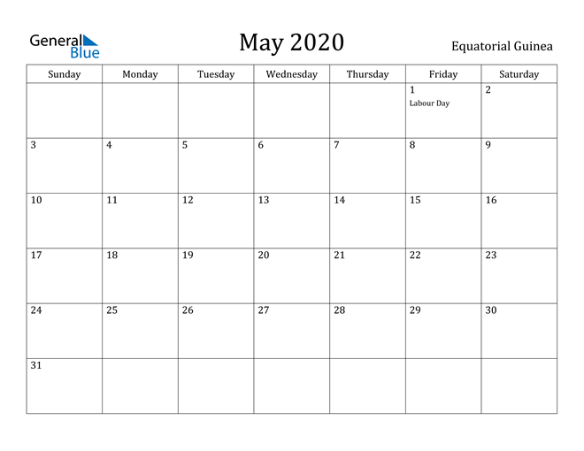 Image of May 2020 Equatorial Guinea Calendar with Holidays Calendar