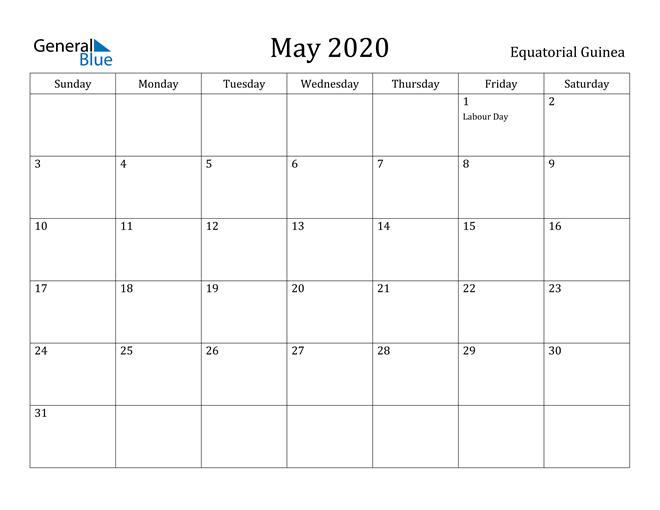 May 2020 Calendar Equatorial Guinea