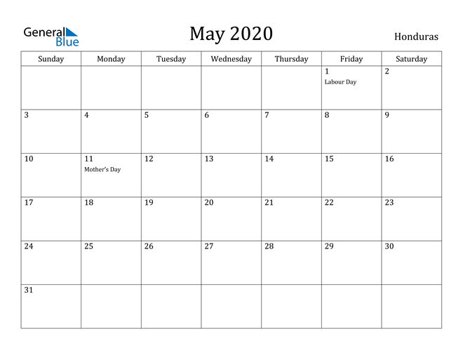 Image of May 2020 Honduras Calendar with Holidays Calendar