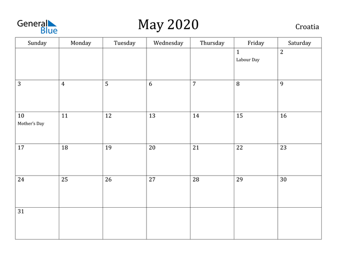 Image of May 2020 Croatia Calendar with Holidays Calendar