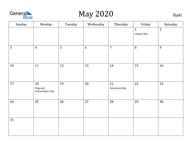Image of May 2020 Haiti Calendar with Holidays Calendar