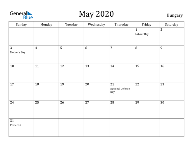 Image of May 2020 Hungary Calendar with Holidays Calendar