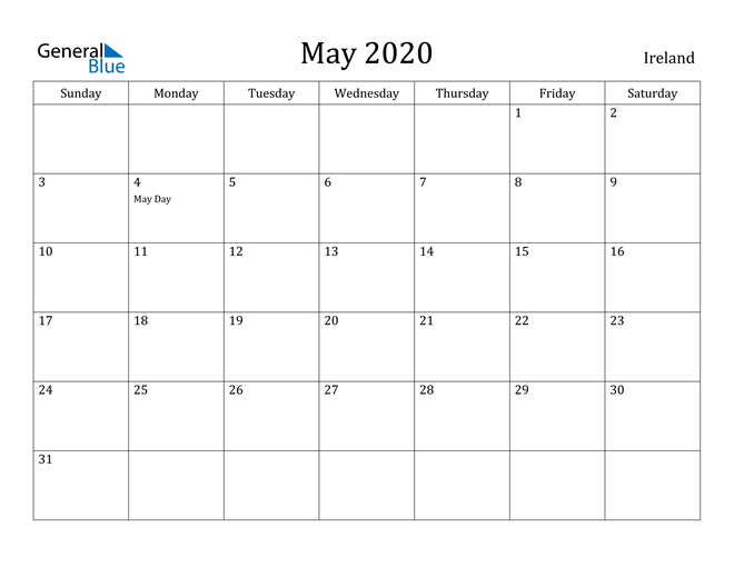Image of May 2020 Ireland Calendar with Holidays Calendar