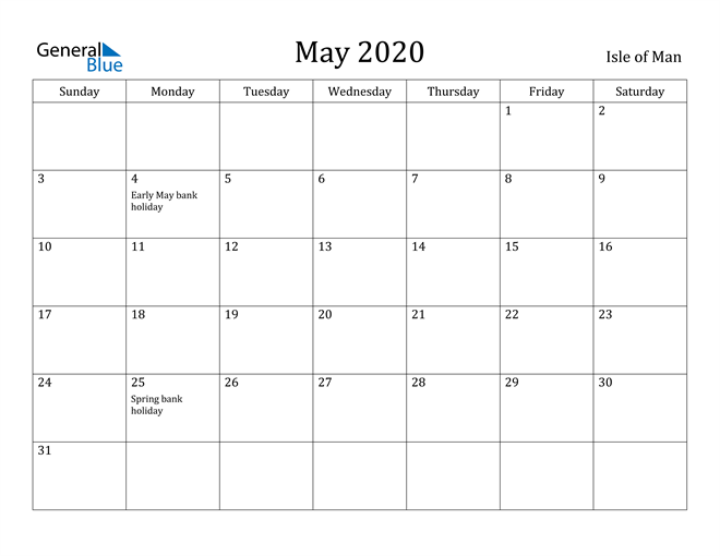Image of May 2020 Isle of Man Calendar with Holidays Calendar