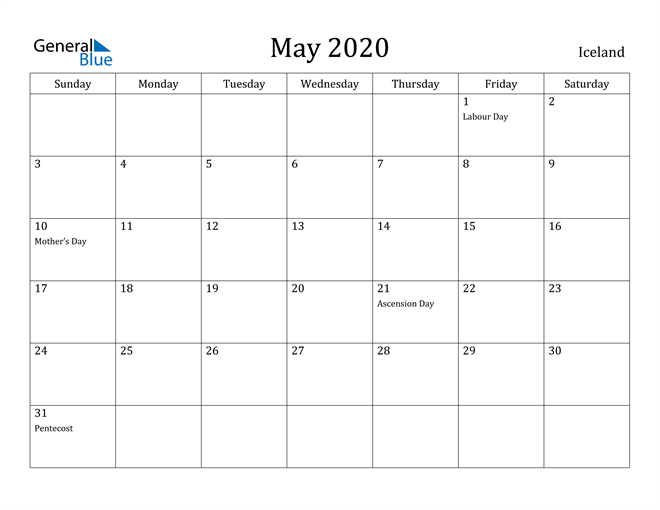 Image of May 2020 Iceland Calendar with Holidays Calendar