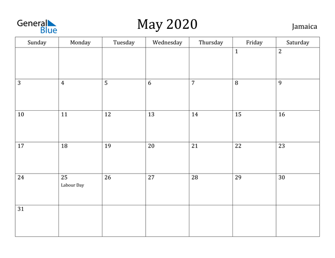 Image of May 2020 Jamaica Calendar with Holidays Calendar