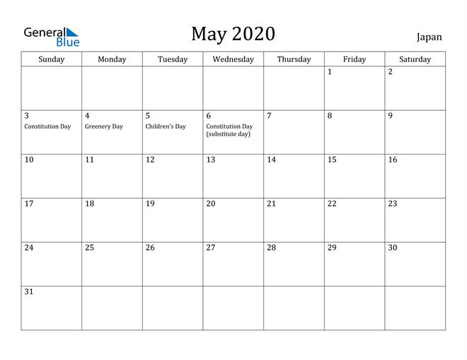 Image of May 2020 Japan Calendar with Holidays Calendar