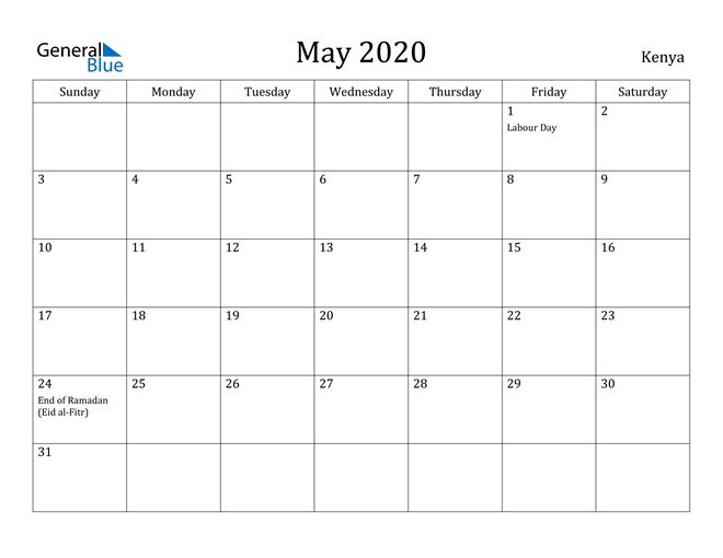 Image of May 2020 Kenya Calendar with Holidays Calendar