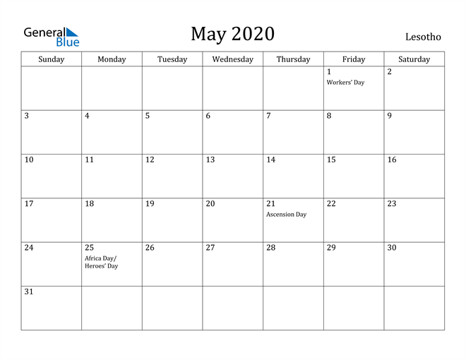 Image of May 2020 Lesotho Calendar with Holidays Calendar