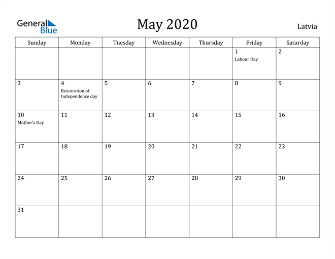 Image of May 2020 Latvia Calendar with Holidays Calendar
