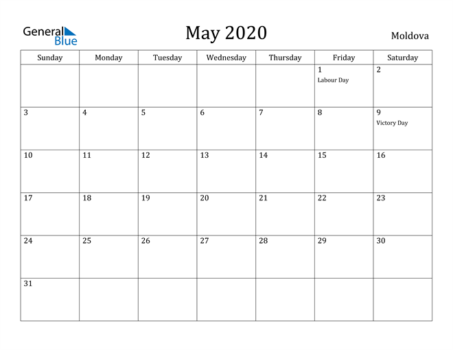 Image of May 2020 Moldova Calendar with Holidays Calendar
