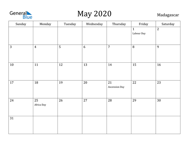 Image of May 2020 Madagascar Calendar with Holidays Calendar