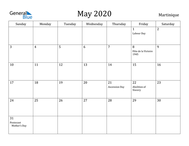 Image of May 2020 Martinique Calendar with Holidays Calendar