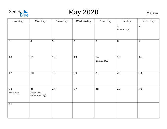 Image of May 2020 Malawi Calendar with Holidays Calendar
