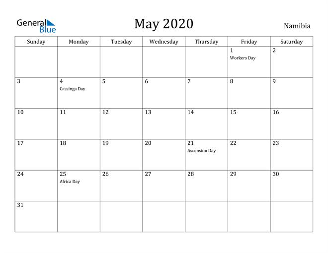 Image of May 2020 Namibia Calendar with Holidays Calendar