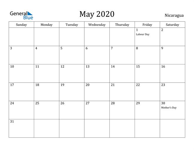 Image of May 2020 Nicaragua Calendar with Holidays Calendar