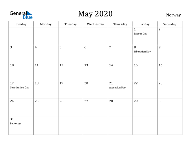 Image of May 2020 Norway Calendar with Holidays Calendar