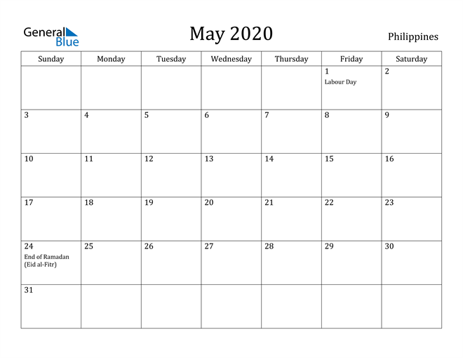 Image of May 2020 Philippines Calendar with Holidays Calendar