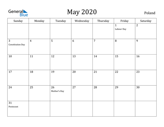 May 2020 Poland Calendar with Holidays Calendar