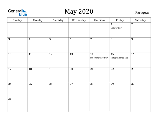 Image of May 2020 Paraguay Calendar with Holidays Calendar