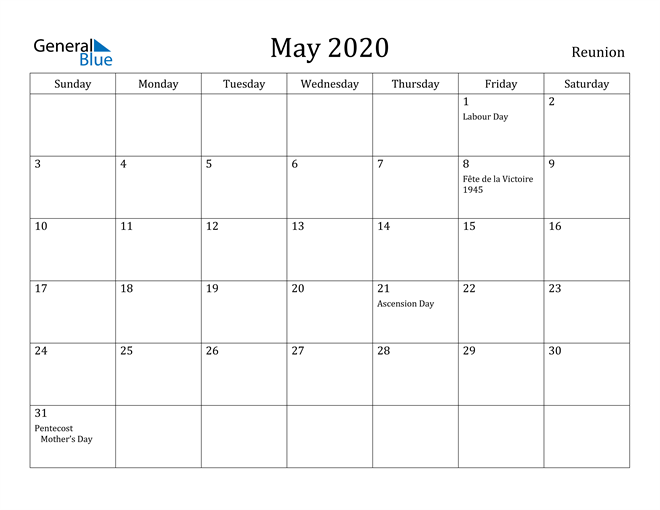 Image of May 2020 Reunion Calendar with Holidays Calendar