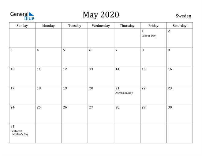 Image of May 2020 Sweden Calendar with Holidays Calendar