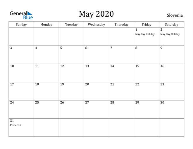 Image of May 2020 Slovenia Calendar with Holidays Calendar