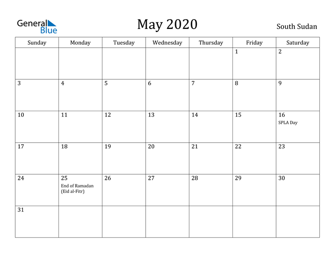 Image of May 2020 South Sudan Calendar with Holidays Calendar