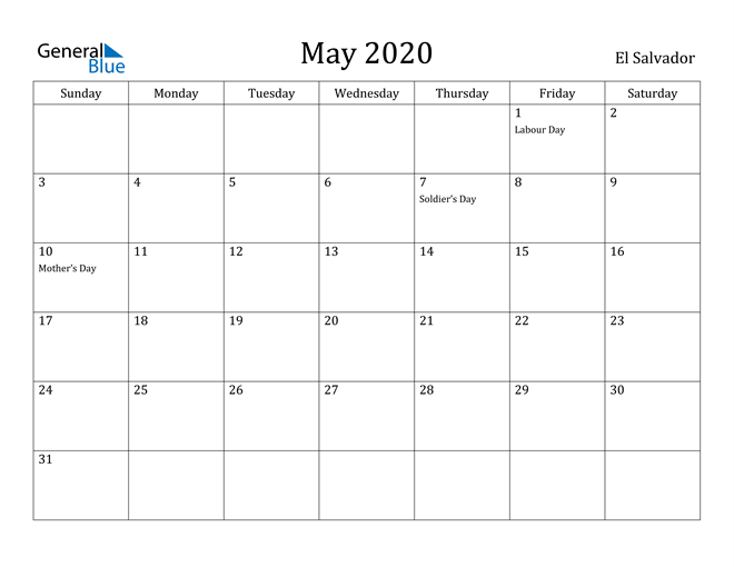 Image of May 2020 El Salvador Calendar with Holidays Calendar