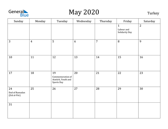 Image of May 2020 Turkey Calendar with Holidays Calendar