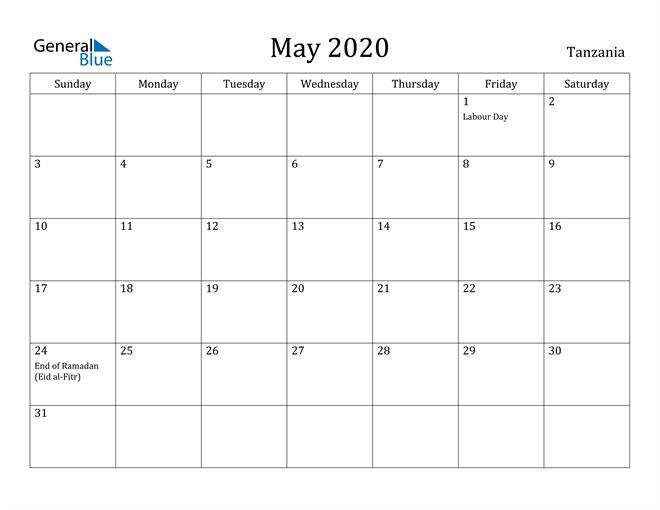 Image of May 2020 Tanzania Calendar with Holidays Calendar