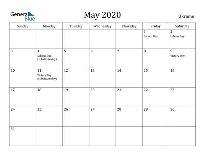 Image of May 2020 Ukraine Calendar with Holidays Calendar
