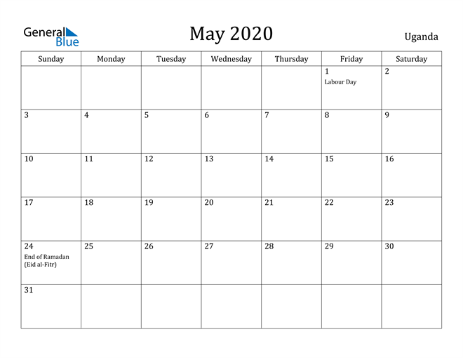 Image of May 2020 Uganda Calendar with Holidays Calendar