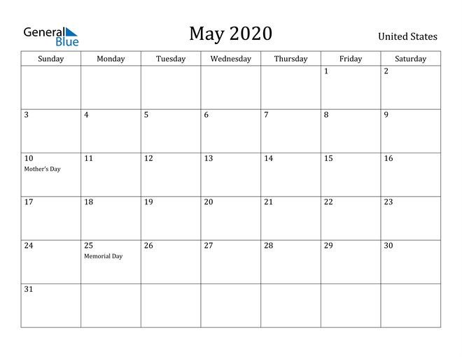 Image of May 2020 United States Calendar with Holidays Calendar