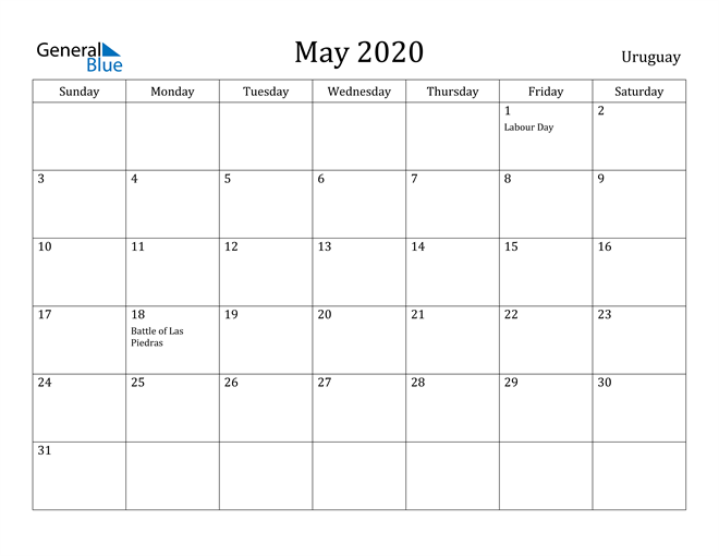 Image of May 2020 Uruguay Calendar with Holidays Calendar