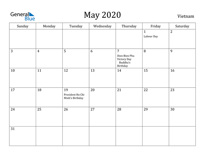Image of May 2020 Vietnam Calendar with Holidays Calendar