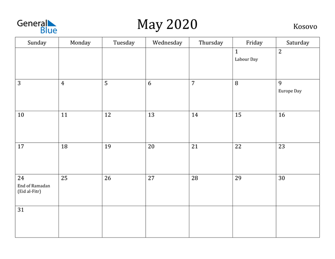 Image of May 2020 Kosovo Calendar with Holidays Calendar