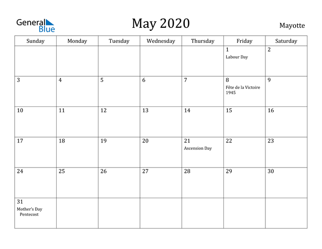 Image of May 2020 Mayotte Calendar with Holidays Calendar