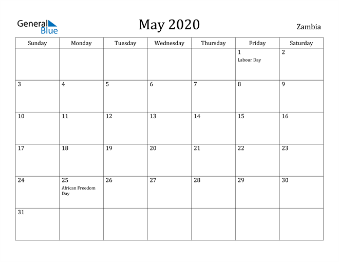 Image of May 2020 Zambia Calendar with Holidays Calendar