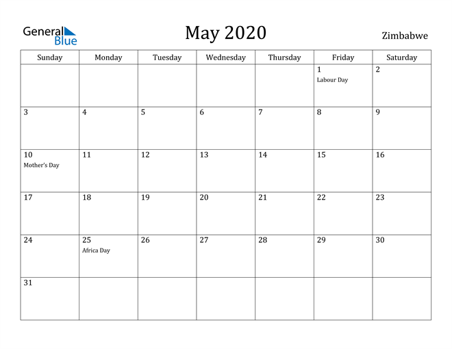 Image of May 2020 Zimbabwe Calendar with Holidays Calendar