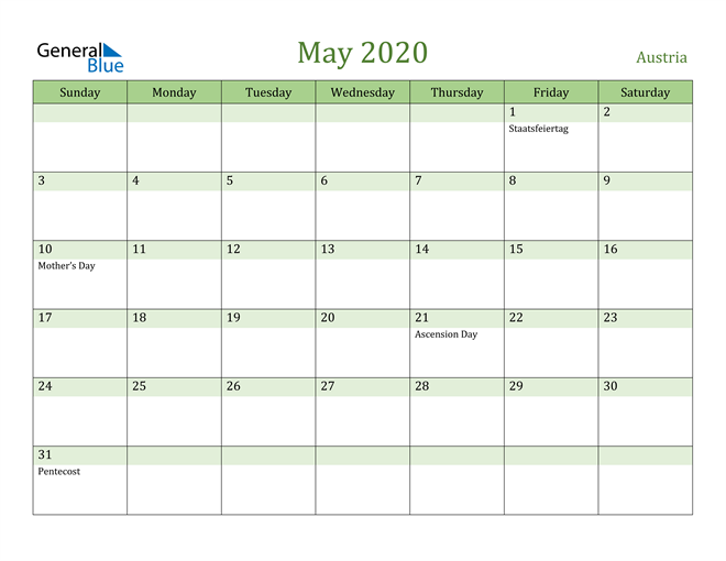 Image of May 2020 Cool and Relaxing Green Calendar Calendar