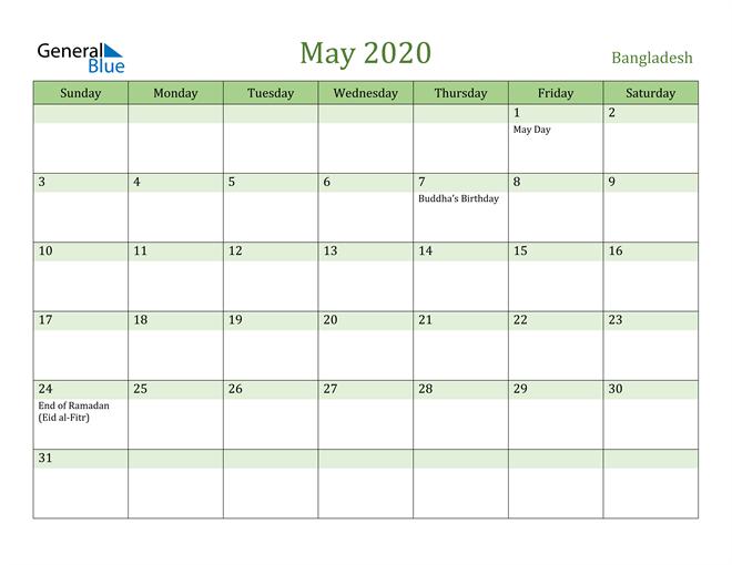 May 2020 Calendar with Bangladesh Holidays